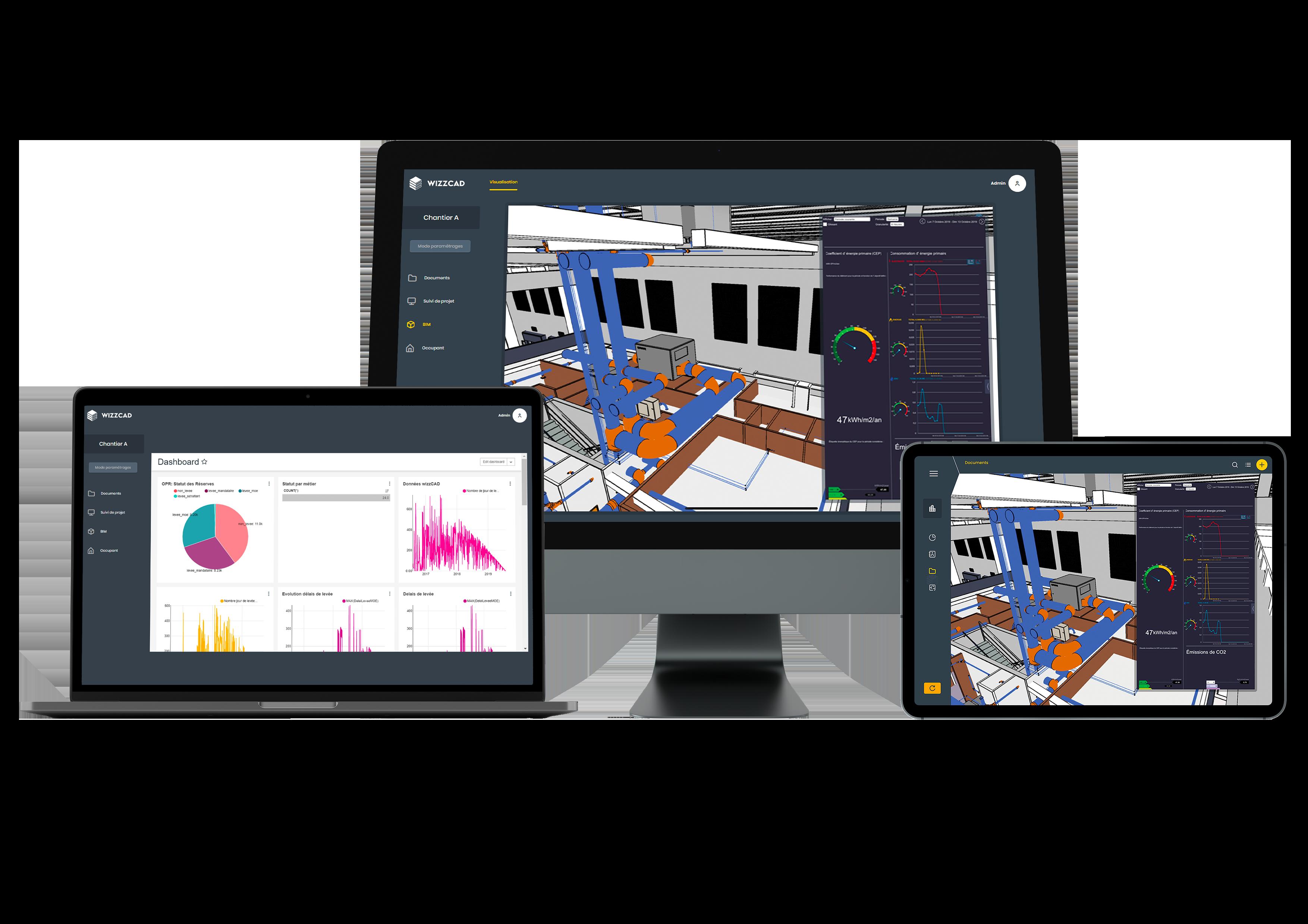 Mobilité logiciel Wizzcad - Ordinateur-laptop-smartphone