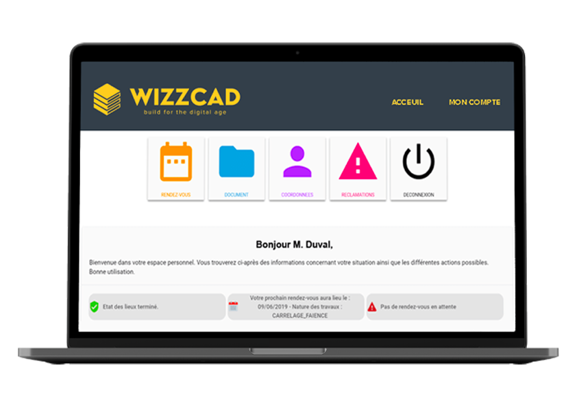 Laptop with WIZZCAD for refurbishment
