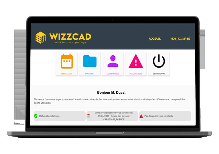 Ordinateur avec wizzcad v4 pour gestion locataire en rehabilitation