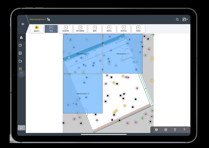 tablette face pour suivi d'opérations avec Wizzcad V4 - arborescence des plans